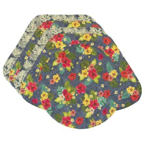 Sweet Pea Linens - Teal Green Tropical Print Wedge-Shaped Placemats - Set of Four plus Center Round-Charger (SKU#: RS5-1006-Z3) - Product Image
