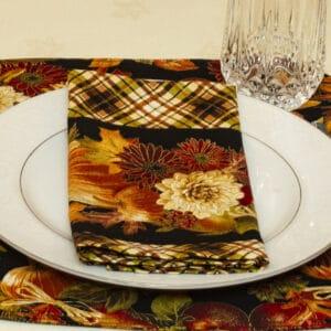 Sweet Pea Linens - Fall Harvest Plaid Cloth Napkin (SKU#: R-1010-Z40) - Table Setting