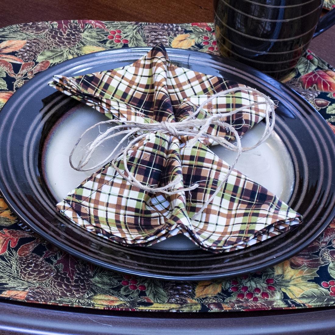 Sweet Pea Linens - Fall Plaid Cloth Napkin (SKU#: R-1010-Z41) - Table Setting