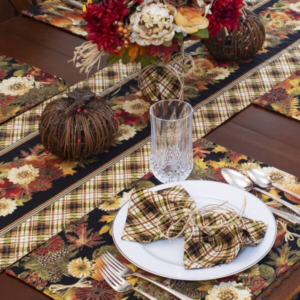 Sweet Pea Linens - Fall Plaid Cloth Napkin (SKU#: R-1010-Z41) - Alternate Table Setting