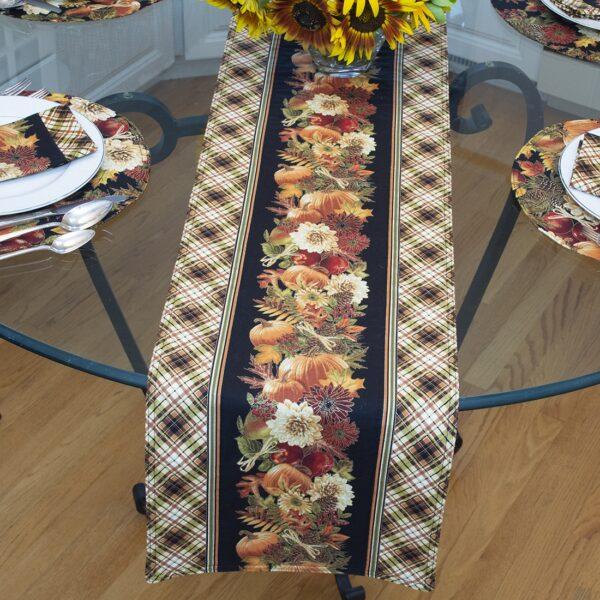 Sweet Pea Linens - Fall Harvest Leaf Print 72 inch Table Runner (SKU#: R-1024-Z4) - Table Setting