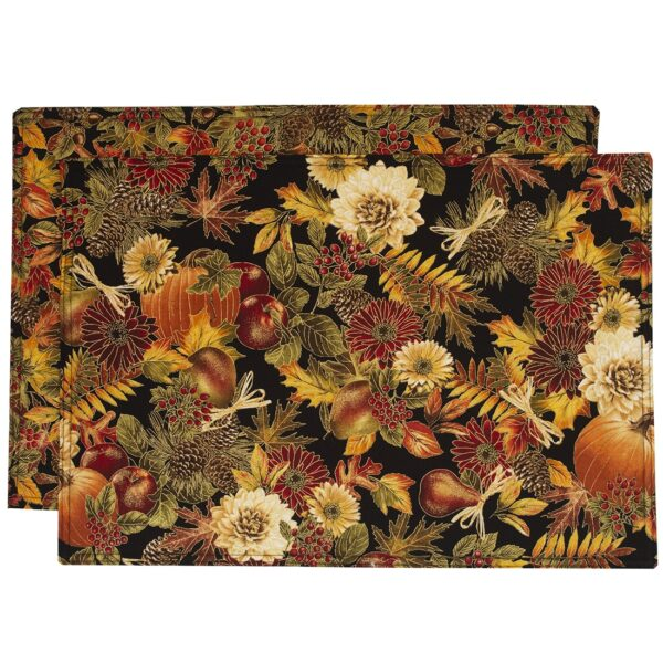 Sweet Pea Linens - Fall Harvest Leaf Print Rectangle Placemats - Set of Two (SKU#: RS2-1002-Z4) - Product Image