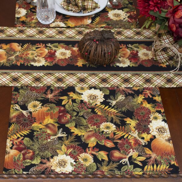 Sweet Pea Linens - Fall Harvest Leaf Print Rectangle Placemats - Set of Two (SKU#: RS2-1002-Z4) - Table Setting