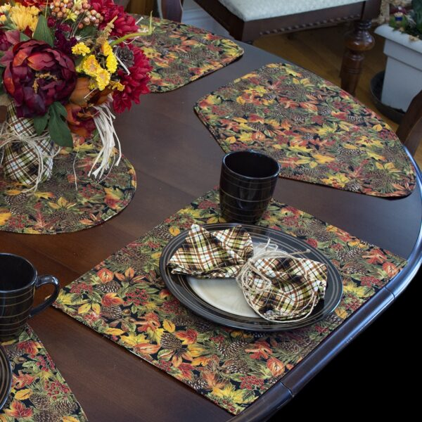 Sweet Pea Linens - Fall Harvest Leaf Print Rectangle Placemats - Set of Two (SKU#: RS2-1002-Z4) - Alternate Table Setting