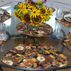 Sweet Pea Linens - Fall Harvest Leaf Print Wedge-Shaped Placemats - Set of Two (SKU#: RS2-1006-Z4) - Table Setting