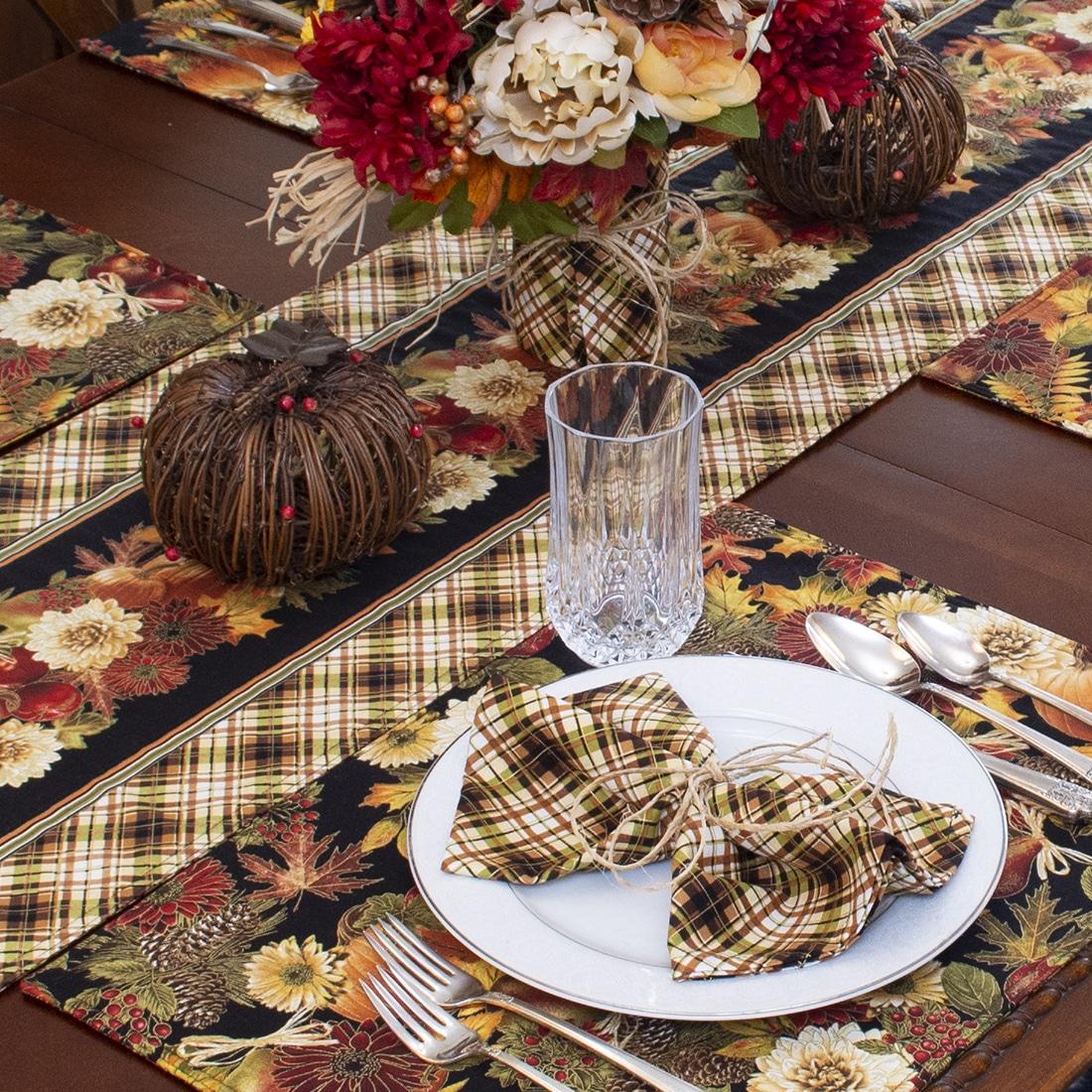 Sweet Pea Linens - Fall Plaid Cloth Napkins - Set of Four (SKU#: RS4-1010-Z41) - Alternate Table Setting