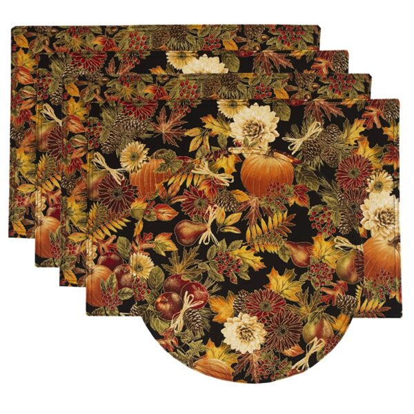 Sweet Pea Linens - Fall Harvest Leaf Print Rectangle Placemats - Set of Four plus Center Round-Charger (SKU#: RS5-1002-Z4) - Product Image