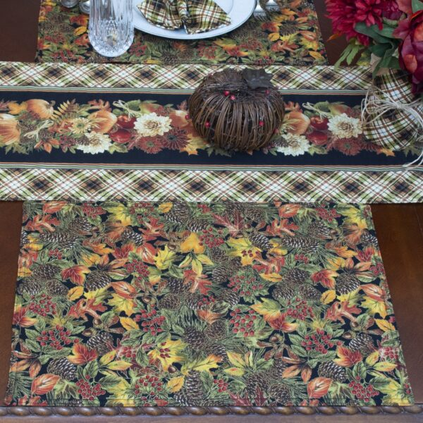 Sweet Pea Linens - Fall Harvest Leaf Print Rectangle Placemats - Set of Four plus Center Round-Charger (SKU#: RS5-1002-Z4) - Table Setting