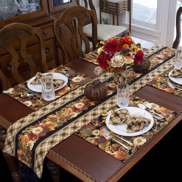 Sweet Pea Linens - Fall Harvest Leaf Print Rectangle Placemats - Set of Four plus Center Round-Charger (SKU#: RS5-1002-Z4) - Alternate Table Setting